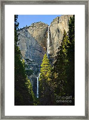 Yosemite Falls With Late Afternoon Light In Yosemite National Park. Framed Print by Jamie Pham