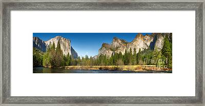 Yosemite Valley And Merced River Framed Print by Jane Rix