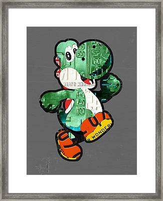Yoshi From Mario Brothers Nintendo Recycled License Plate Art Portrait Framed Print by Design Turnpike