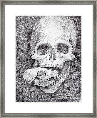 You Are What You Eat Skull Drawing Framed Print by Adam Long