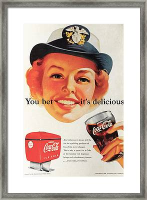 You Bet It's Delicious - Coca Cola Framed Print by Georgia Fowler