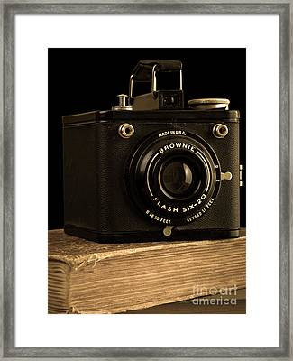 You Push The Button We Do The Rest Kodak Brownie Vintage Camera Framed Print by Edward Fielding
