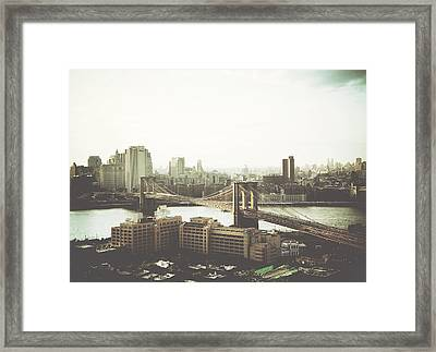 You'll Miss Her Most When You Roam ... Cause You'll Think Of Her And Think Of Home ... The Good Old Brooklyn Bridge Framed Print by Natasha Marco