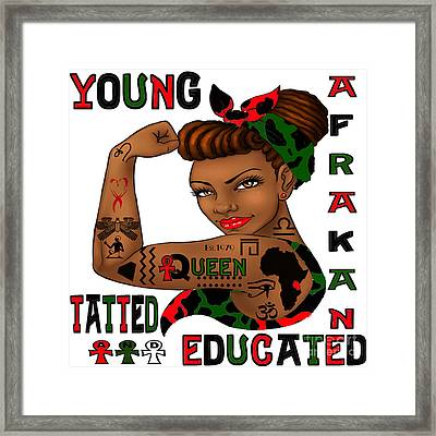 Young Afrakan Tatted And Educated Framed Print by Respect the Queen