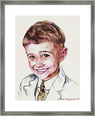 Young Boy Framed Print by PainterArtistFINs Husband MAESTRO