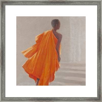 Young Buddhist Monk, 2014 Oil On Canvas Framed Print by Lincoln Seligman