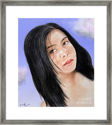 Young Filipina Beauty With A Mole Model Kaye Anne Toribio  Altered Version Framed Print by Jim Fitzpatrick