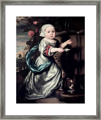Young Girl At A Fountain, 1662 Oil On Canvas Framed Print by Nicolaes Maes