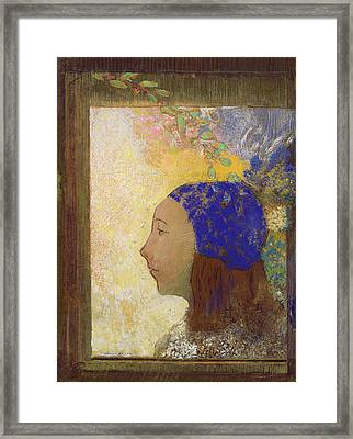 Young Girl In A Blue Bonnet Framed Print by Odilon Redon