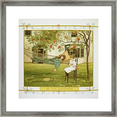 Young Girl In A Hammock Framed Print by British Library