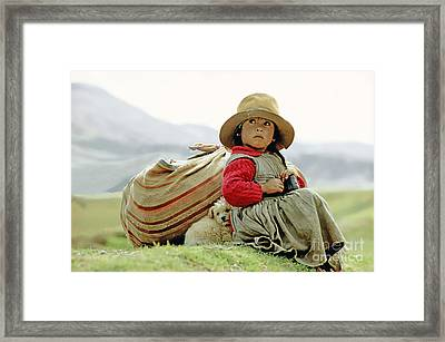 Young Girl In Peru Framed Print by  Victor Englebert