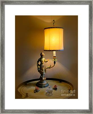 Young Girl Reading By Lamplight Framed Print by Al Bourassa
