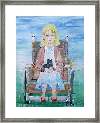 Young Girl-with Cat- On Wheelchair Framed Print by Fabrizio Cassetta