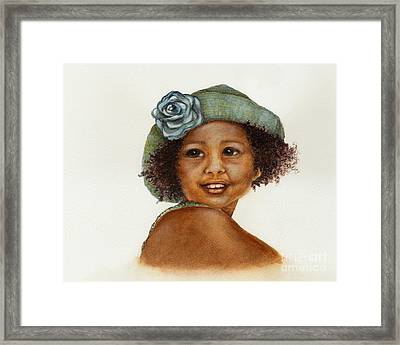 Young Girl With Straw Hat Framed Print by Nan Wright