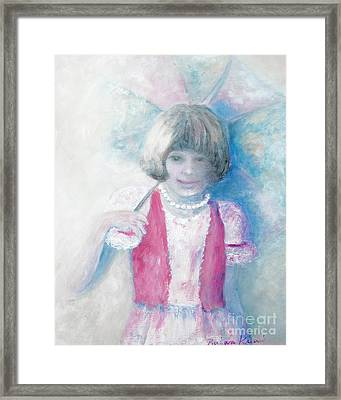 Young Girl With Umbrella Framed Print by Barbara Anna Knauf