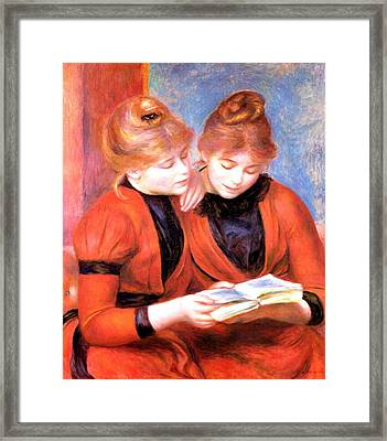 Young Girls Reading Framed Print by Pierre-Auguste Renoir
