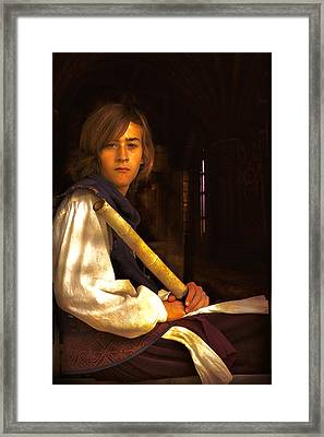Young Lad In Window Framed Print by John Rivera
