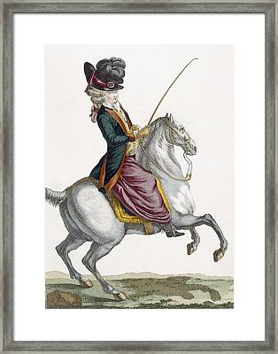 Young Lady Riding A Horse, Engraved Framed Print by Pierre Thomas Le Clerc