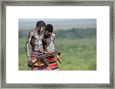 Young Male Karo Tribe Boys Framed Print by Photostock-israel
