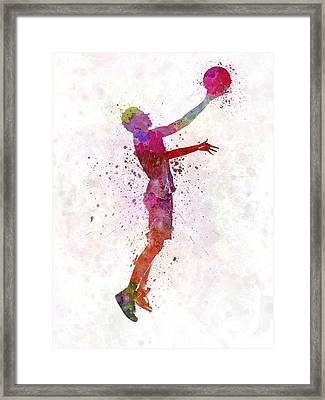 Young Man Basketball Player Framed Print by Pablo Romero
