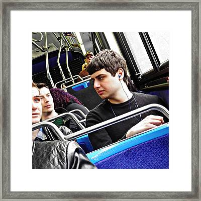 Young Men On The M4 Bus Framed Print by Sarah Loft