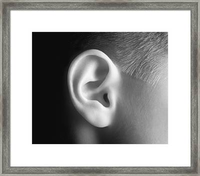 Young Persons Ear In Black And White Framed Print by Don Hammond
