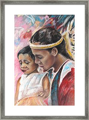 Young Polynesian Mama With Child Framed Print by Miki De Goodaboom