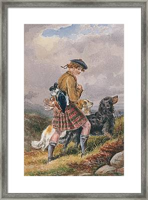 Young Scottish Gamekeeper With Dead Game Framed Print by English School