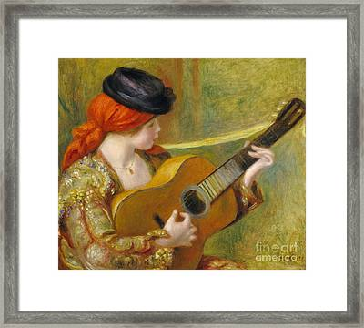Young Spanish Woman With A Guitar Framed Print by Pierre Auguste Renoir