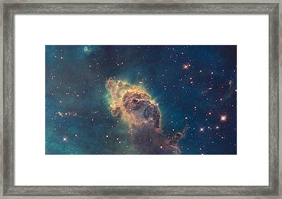 Young Stars Flaring In The Carina Nebula Framed Print by Celestial Images