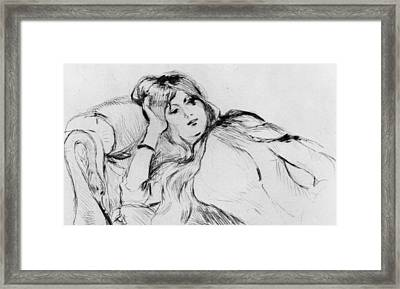 Young Woman At Rest Framed Print by Berthe Morisot