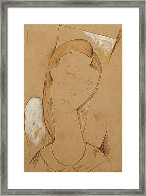 Young Woman  Giovane Donna Framed Print by Amedeo Modigliani