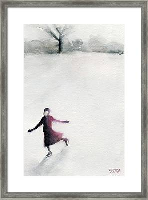 Young Woman Ice Skating Watercolor Painting Framed Print by Beverly Brown Prints