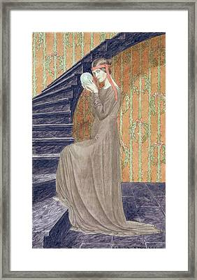 Young Woman In Aesthetic Style Dress Framed Print by Carlos Schwabe