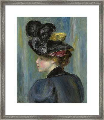 Young Woman With Black Hat Framed Print by Pierre Auguste Renoir