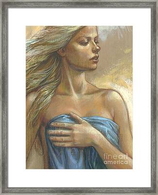 Young Woman With Blue Drape Crop Framed Print by Zorina Baldescu