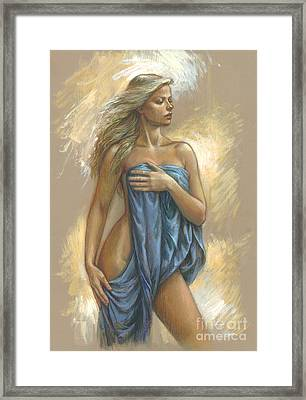 Young Woman With Blue Drape Framed Print by Zorina Baldescu