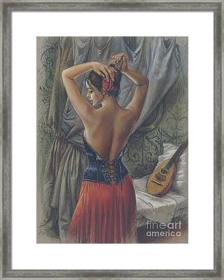 Young Woman With Luth Framed Print by Zorina Baldescu