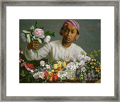 Young Woman With Peonies Framed Print by Jean Frederic Bazille