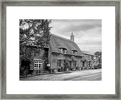 Your Shout - Axe And Compasses Pub Bw Framed Print by Gill Billington