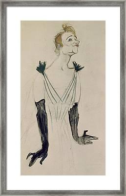Yvette Guilbert  Framed Print by Henri de Toulouse-Lautrec