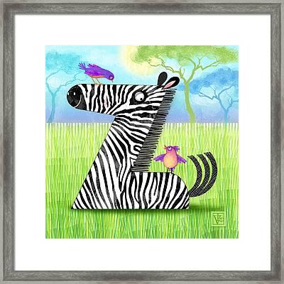 Z Is For Zebra Framed Print by Valerie Drake Lesiak