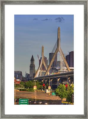 Zakim Bridge And Blue Skies Framed Print by Joann Vitali