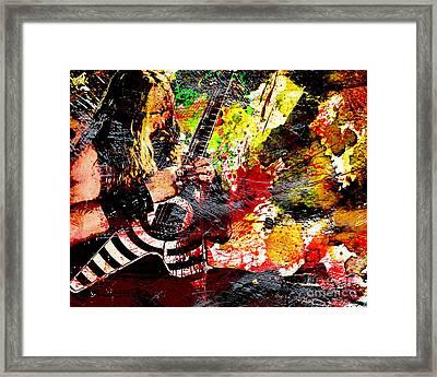 Zakk Wylde - Ozzy Osbourne - Horizontal Art Print Framed Print by Ryan Rock Artist
