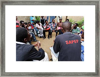 Zambian Theatre Group Meeting Framed Print by Matthew Oldfield