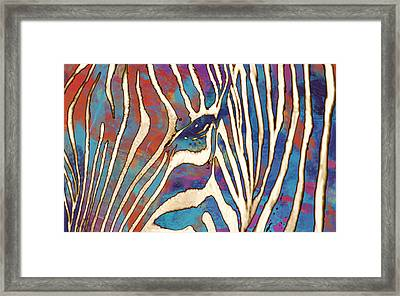 Zebra Art - 1 Stylised Drawing Art Poster Framed Print by Kim Wang