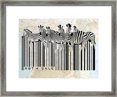 Zebra Barcode Framed Print by Sassan Filsoof