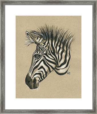 Zebra Profile Framed Print by Konni Jensen