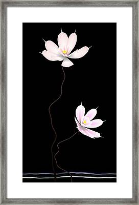 Zen Flower Twins With A Black Background Framed Print by GuoJun Pan