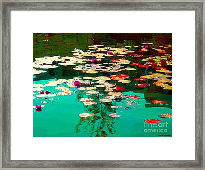 Zen Garden Water Lilies Pond Serenity And Beauty Lily Pads At The Lake Waterscene Art Carole Spandau Framed Print by Carole Spandau
